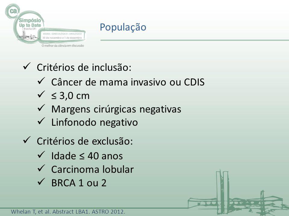 Critérios de inclusão: Câncer de mama invasivo ou CDIS ≤ 3,0 cm
