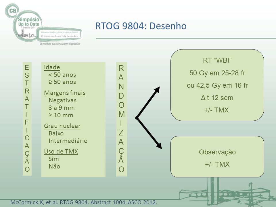 RTOG 9804: Desenho RANDOMI ZAÇÃO RT WBI 50 Gy em 25-28 fr