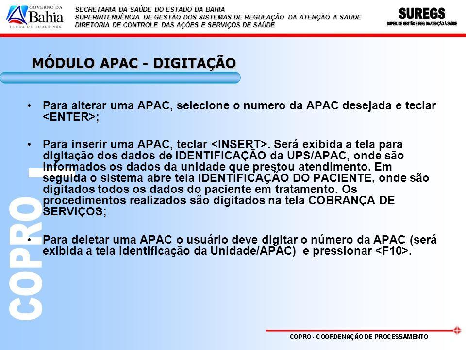 MÓDULO APAC - DIGITAÇÃO