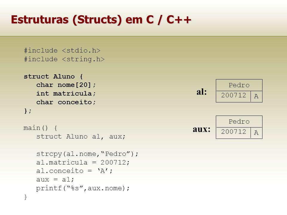 Estruturas (Structs) em C / C++