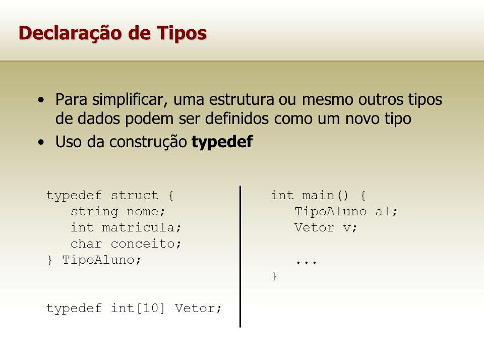 Declaração de Tipos Para simplificar, uma estrutura ou mesmo outros tipos de dados podem ser definidos como um novo tipo.