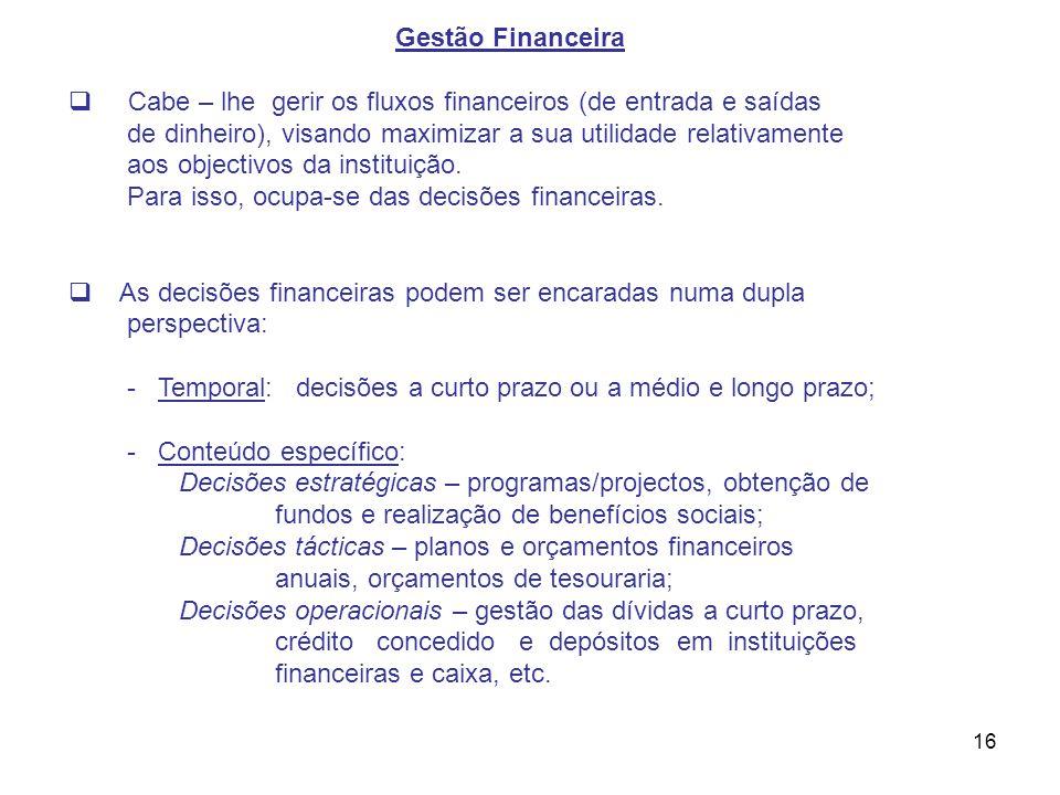 Gestão Financeira Cabe – lhe gerir os fluxos financeiros (de entrada e saídas. de dinheiro), visando maximizar a sua utilidade relativamente.
