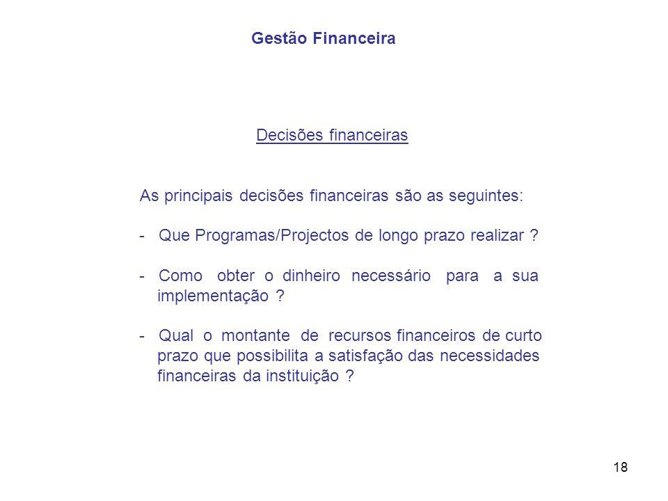 Gestão Financeira Decisões financeiras. As principais decisões financeiras são as seguintes: - Que Programas/Projectos de longo prazo realizar