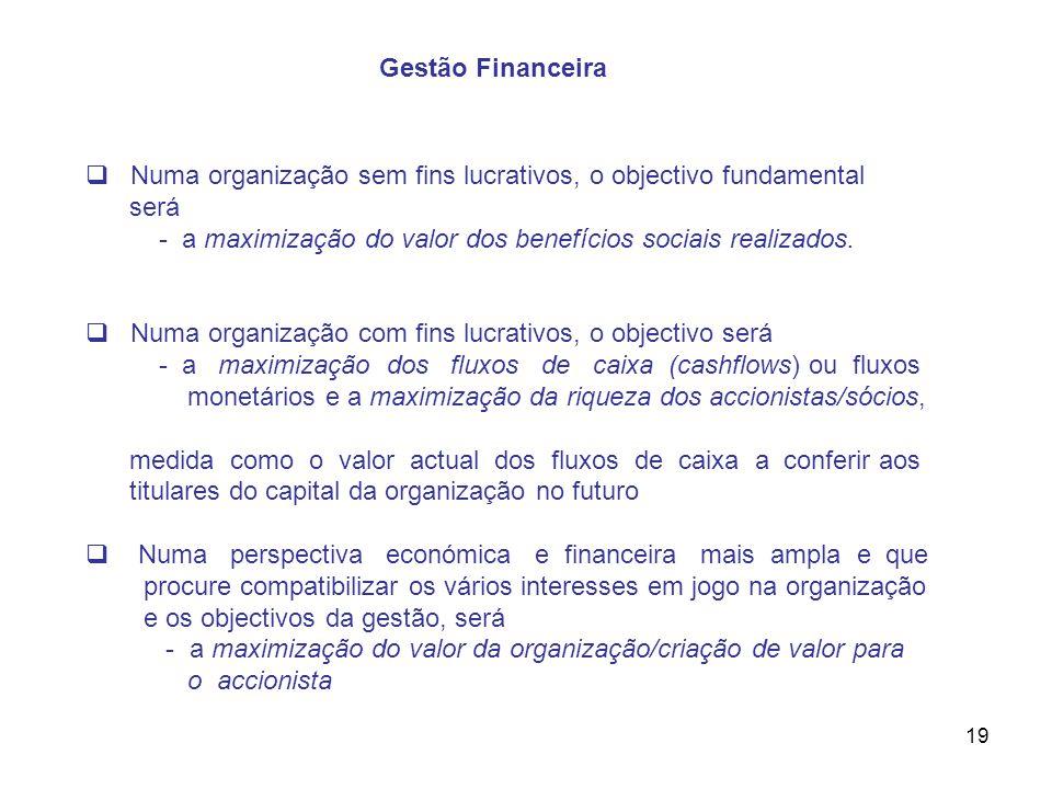 Gestão Financeira Numa organização sem fins lucrativos, o objectivo fundamental. será. - a maximização do valor dos benefícios sociais realizados.