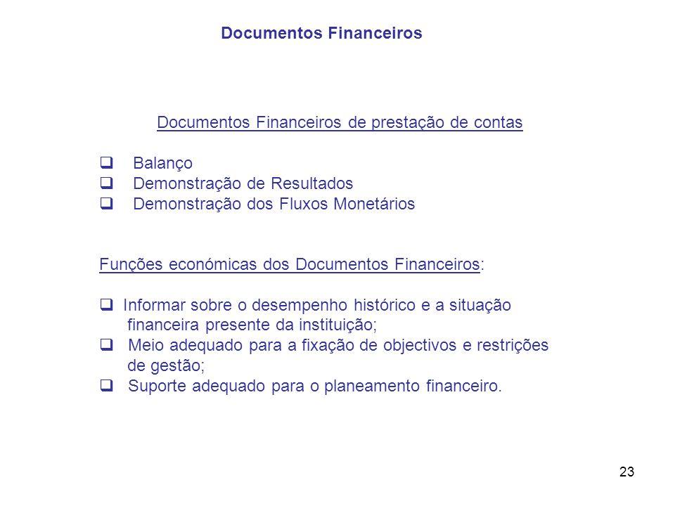 Documentos Financeiros de prestação de contas