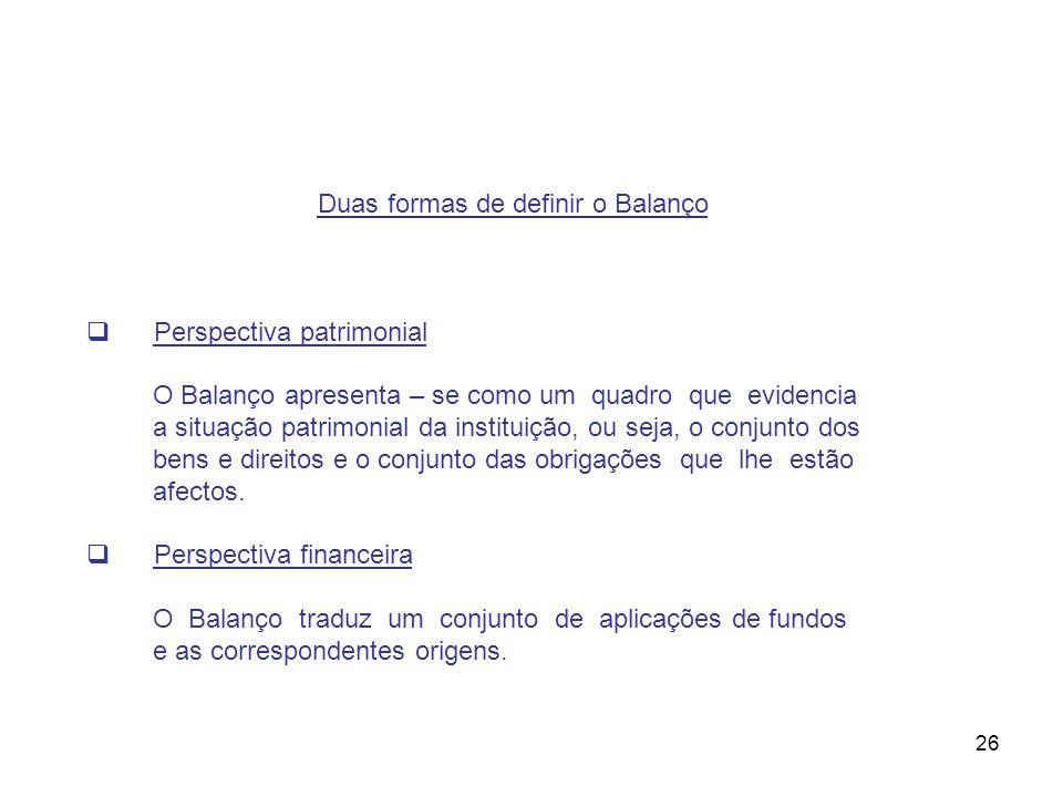 Duas formas de definir o Balanço