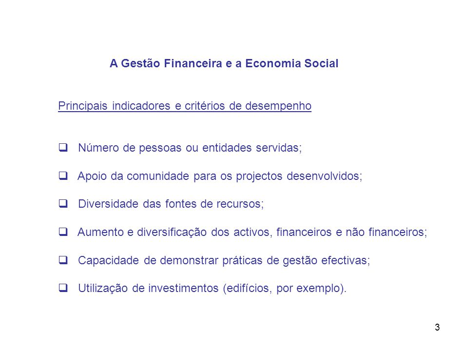 A Gestão Financeira e a Economia Social