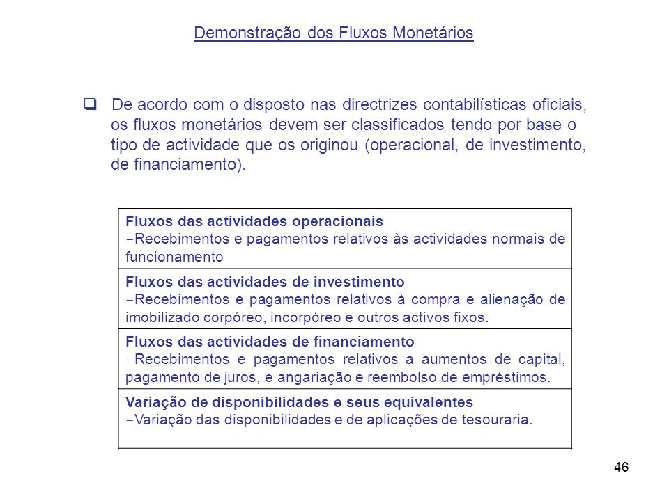 Demonstração dos Fluxos Monetários