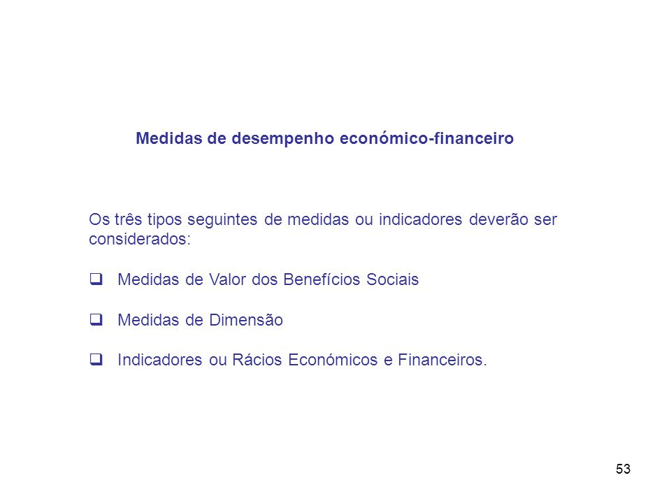 Medidas de desempenho económico-financeiro