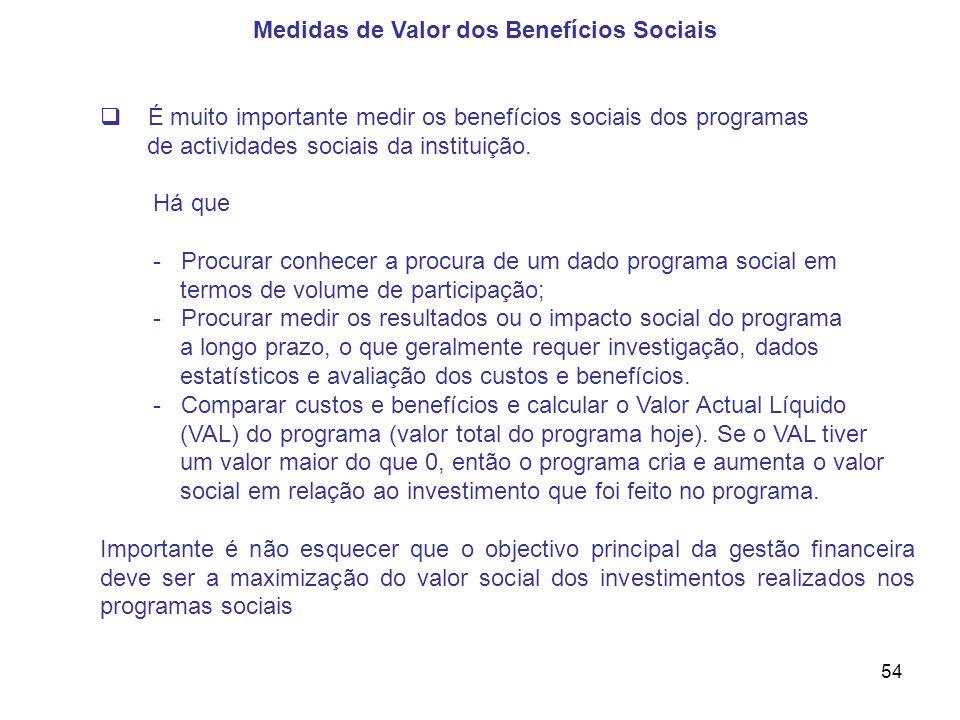 Medidas de Valor dos Benefícios Sociais
