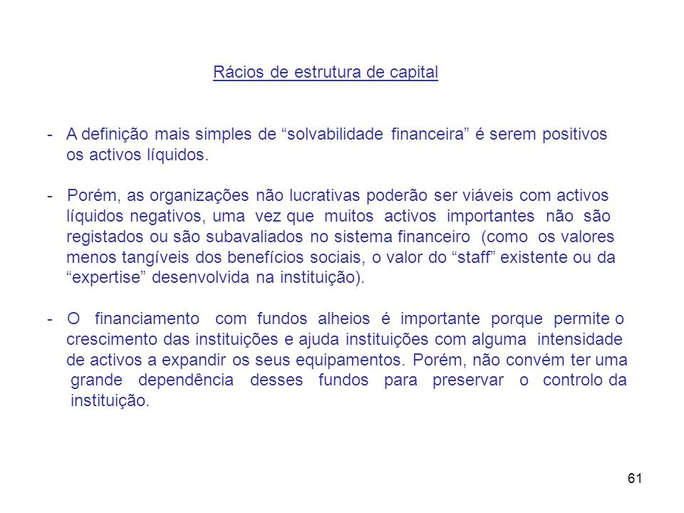Rácios de estrutura de capital