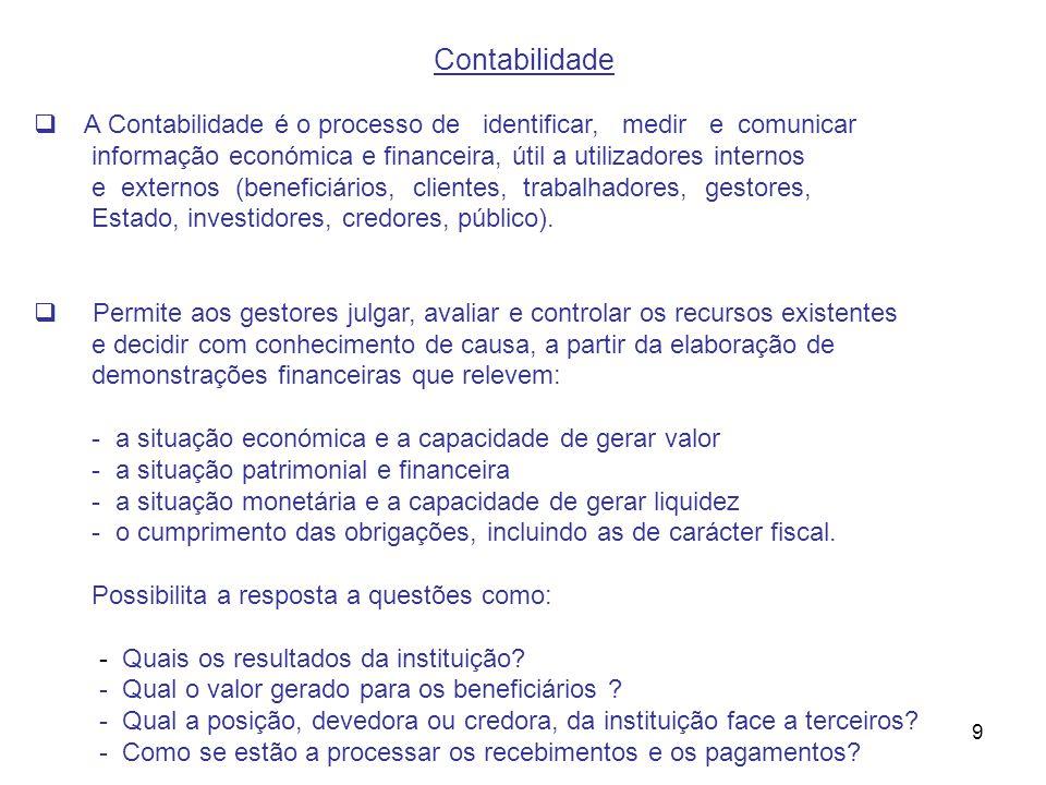 Contabilidade A Contabilidade é o processo de identificar, medir e comunicar. informação económica e financeira, útil a utilizadores internos.
