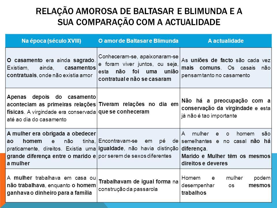Na época (século XVIII) O amor de Baltasar e Blimunda
