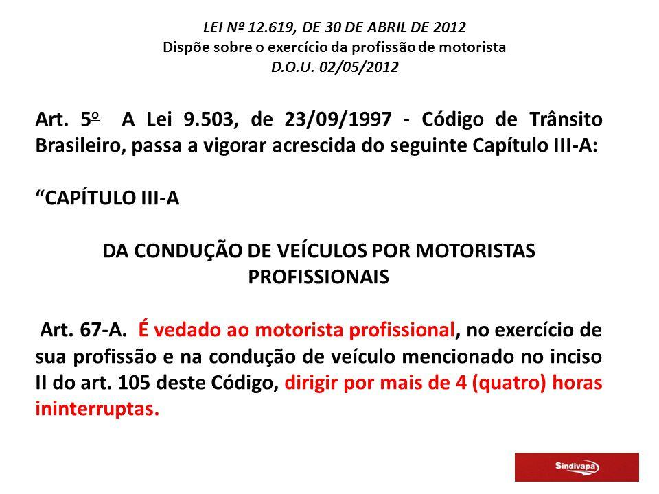 DA CONDUÇÃO DE VEÍCULOS POR MOTORISTAS PROFISSIONAIS