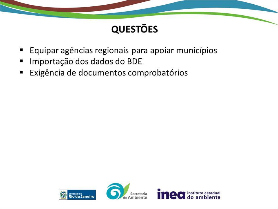 QUESTÕES Equipar agências regionais para apoiar municípios