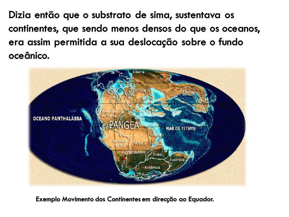 Dizia então que o substrato de sima, sustentava os continentes, que sendo menos densos do que os oceanos, era assim permitida a sua deslocação sobre o fundo oceânico.