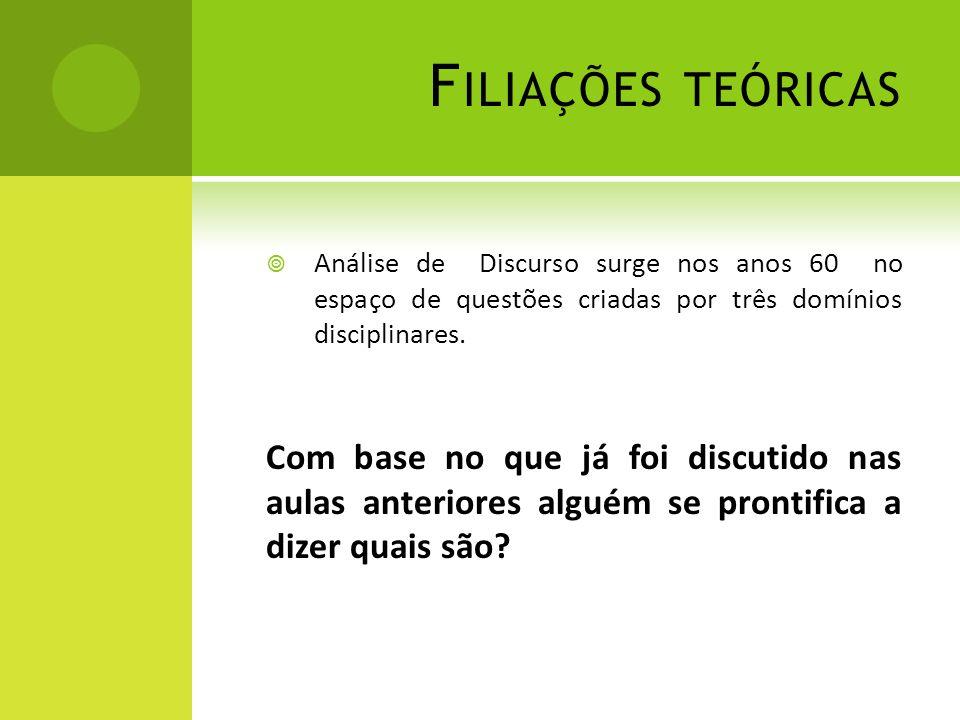 Filiações teóricas Análise de Discurso surge nos anos 60 no espaço de questões criadas por três domínios disciplinares.