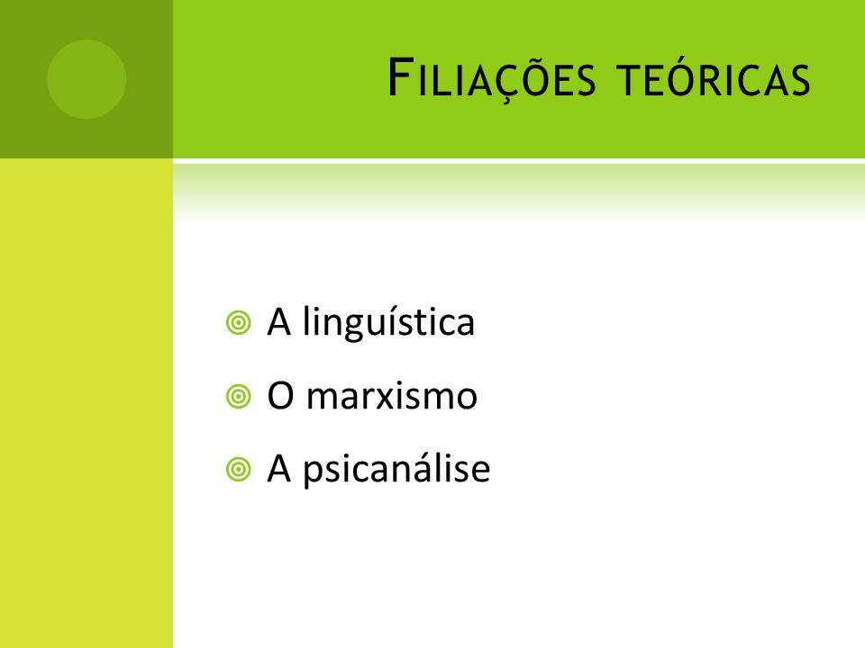 Filiações teóricas A linguística O marxismo A psicanálise