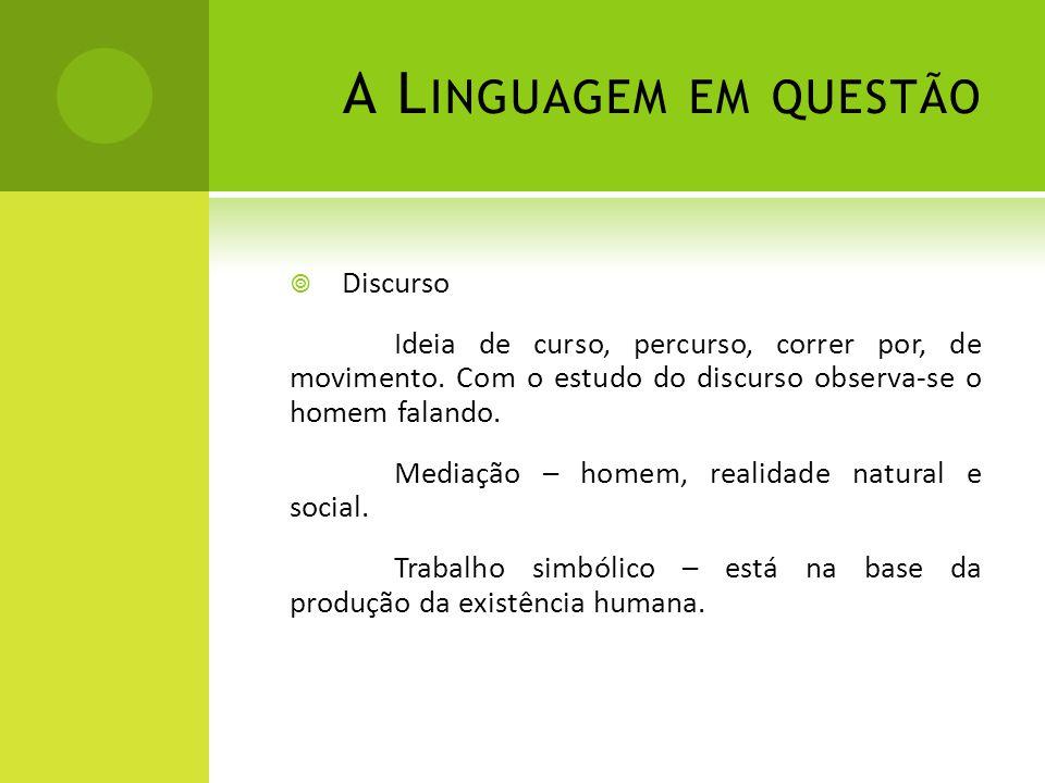 A Linguagem em questão Discurso