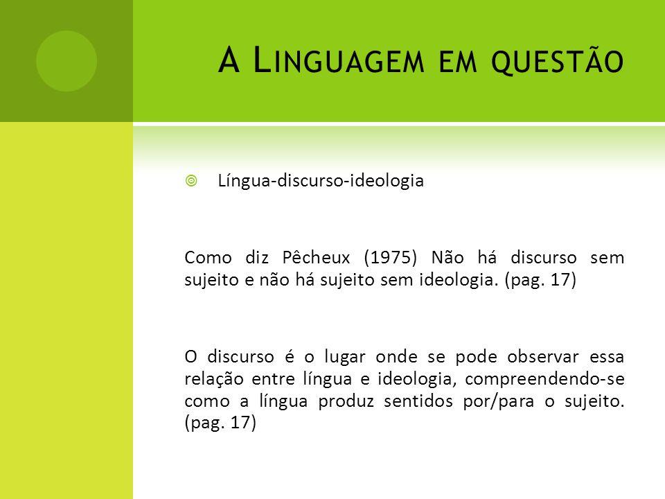 A Linguagem em questão Língua-discurso-ideologia