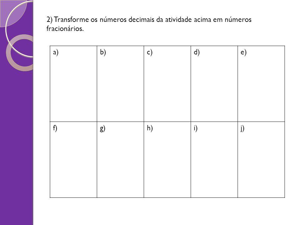 2) Transforme os números decimais da atividade acima em números fracionários.