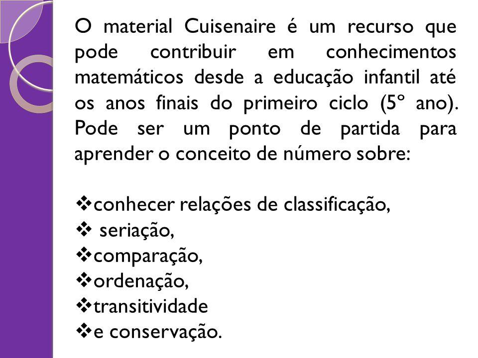 O material Cuisenaire é um recurso que pode contribuir em conhecimentos matemáticos desde a educação infantil até os anos finais do primeiro ciclo (5º ano). Pode ser um ponto de partida para aprender o conceito de número sobre: