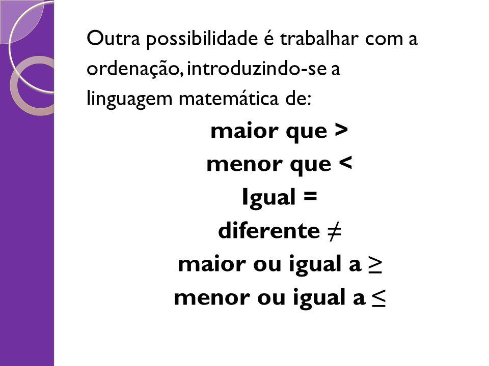 maior que > menor que < Igual = diferente ≠ maior ou igual a ≥
