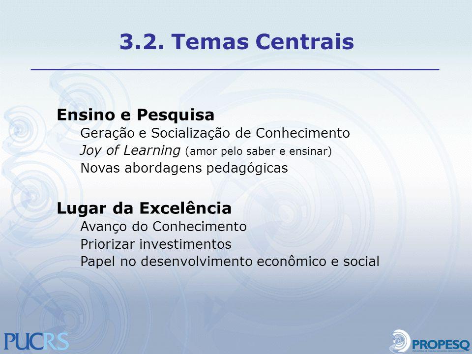 3.2. Temas Centrais Ensino e Pesquisa Lugar da Excelência
