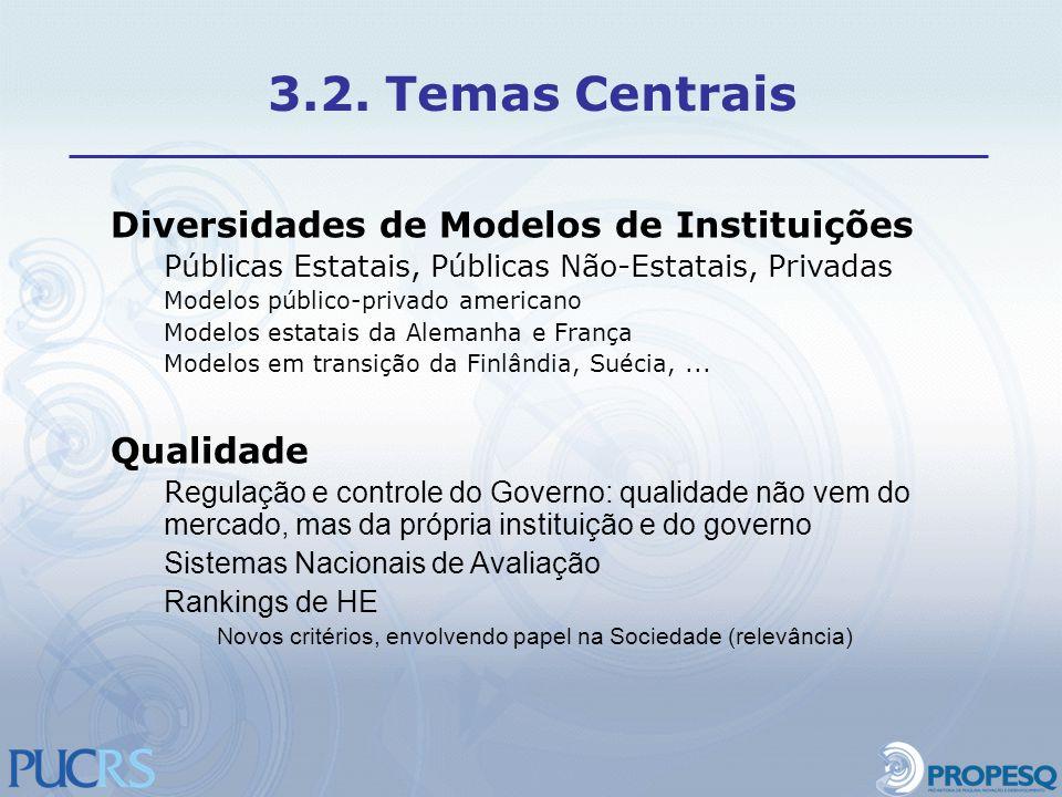 3.2. Temas Centrais Diversidades de Modelos de Instituições Qualidade