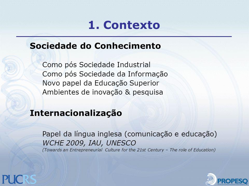 1. Contexto Sociedade do Conhecimento Internacionalização