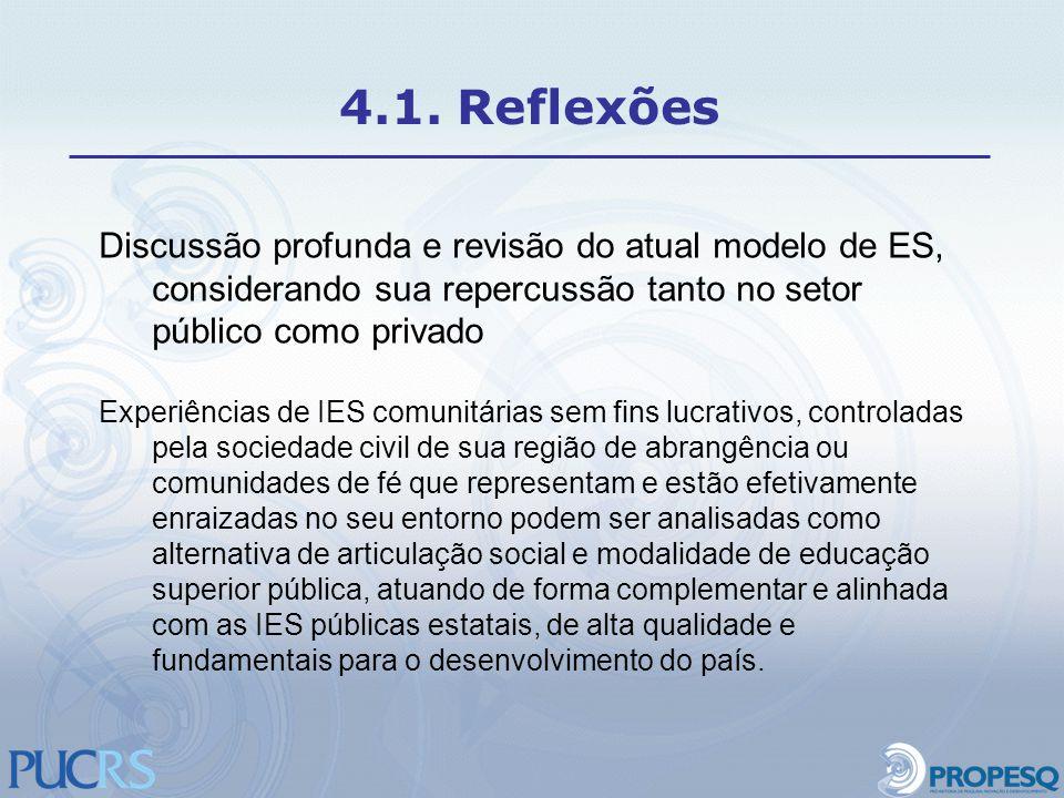 4.1. Reflexões Discussão profunda e revisão do atual modelo de ES, considerando sua repercussão tanto no setor público como privado.