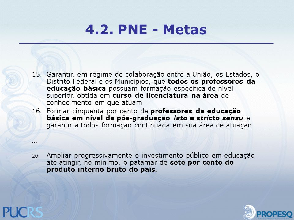 4.2. PNE - Metas