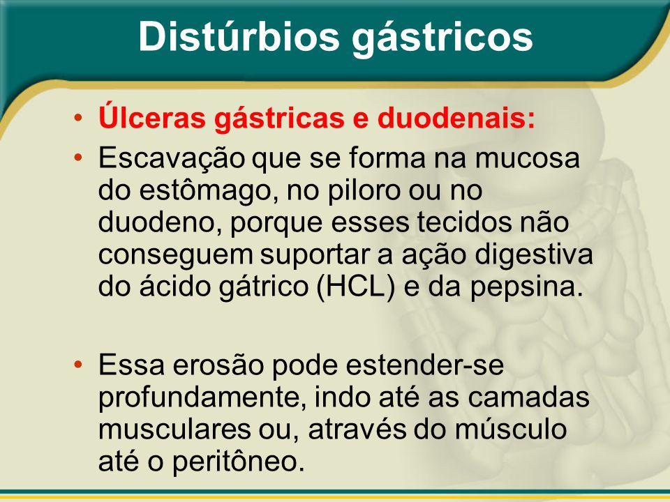 Distúrbios gástricos Úlceras gástricas e duodenais: