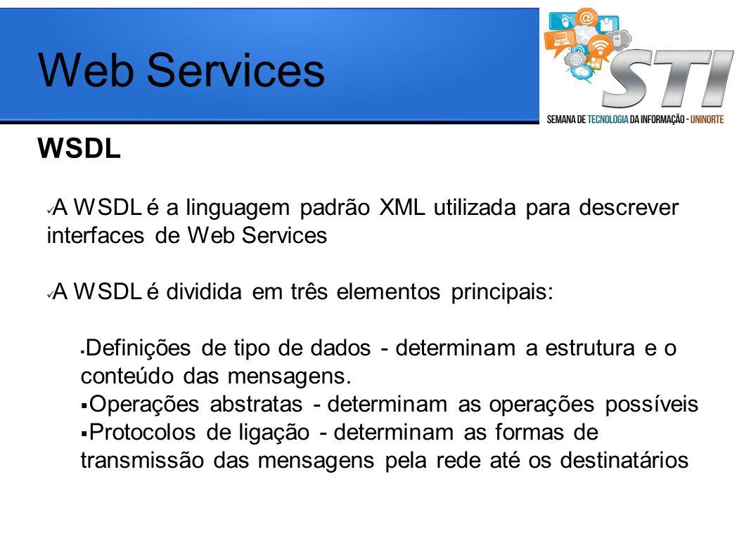 Web Services WSDL. A WSDL é a linguagem padrão XML utilizada para descrever interfaces de Web Services.