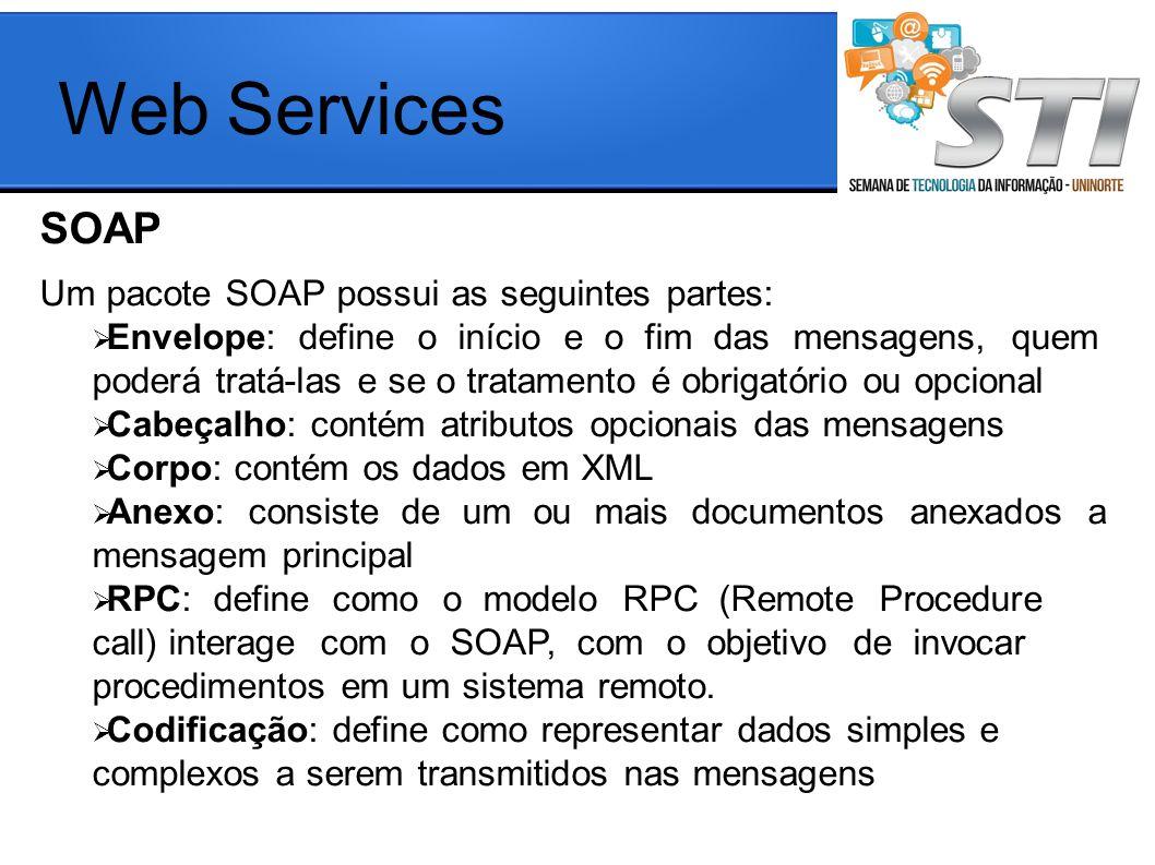 Web Services SOAP aaa Um pacote SOAP possui as seguintes partes: