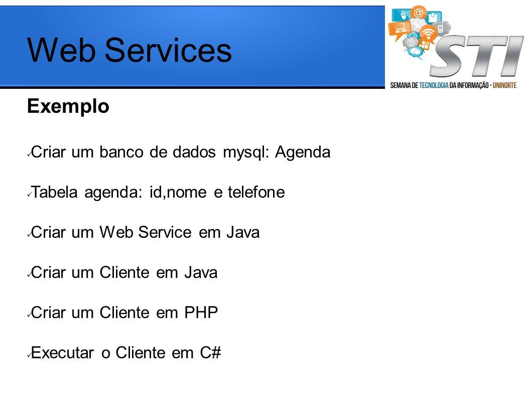 Web Services Exemplo Criar um banco de dados mysql: Agenda