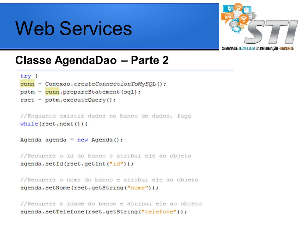 Web Services Classe AgendaDao – Parte 2