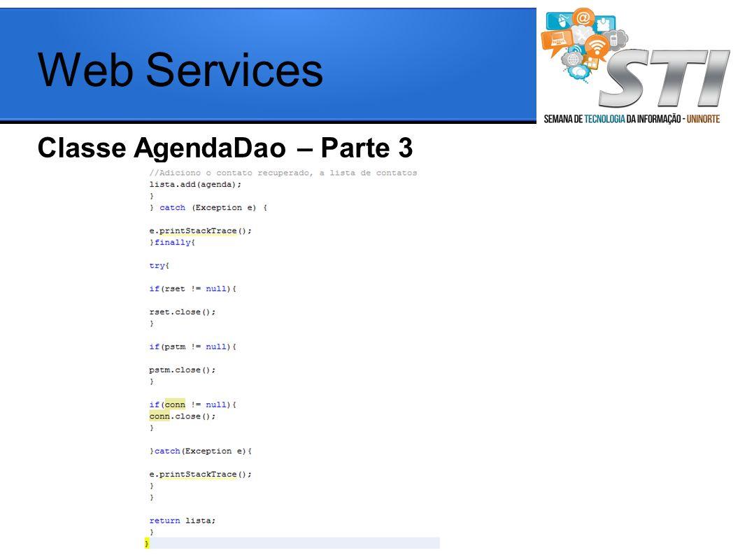 Web Services Classe AgendaDao – Parte 3