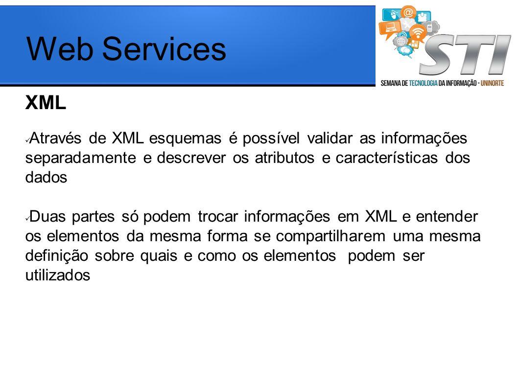 Web Services XML. Através de XML esquemas é possível validar as informações separadamente e descrever os atributos e características dos dados.