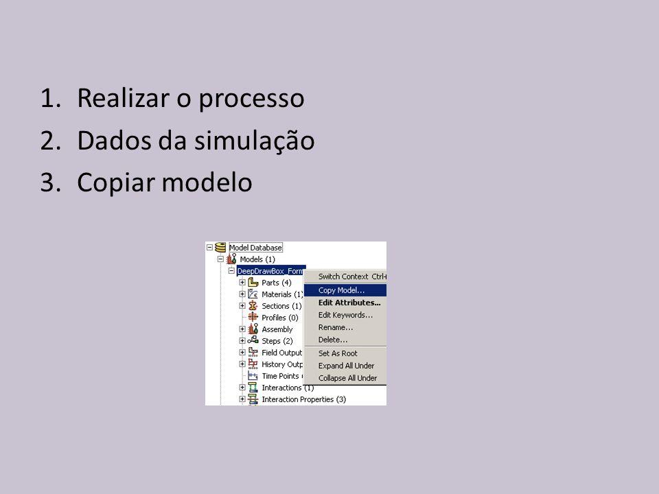 Realizar o processo Dados da simulação Copiar modelo