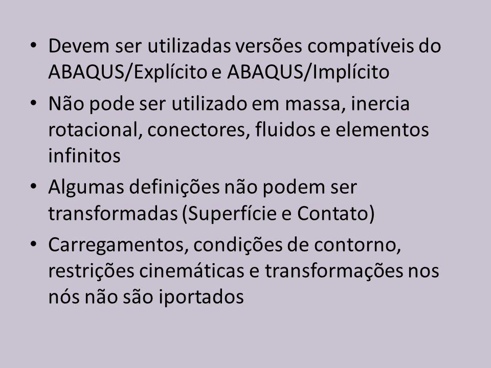 Devem ser utilizadas versões compatíveis do ABAQUS/Explícito e ABAQUS/Implícito