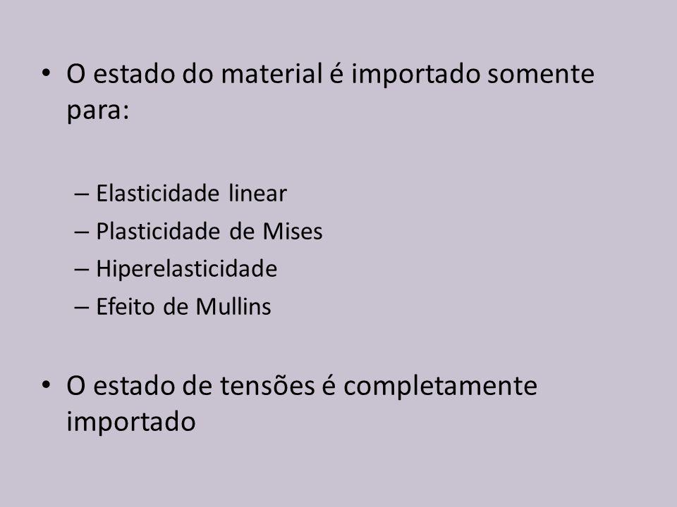 O estado do material é importado somente para: