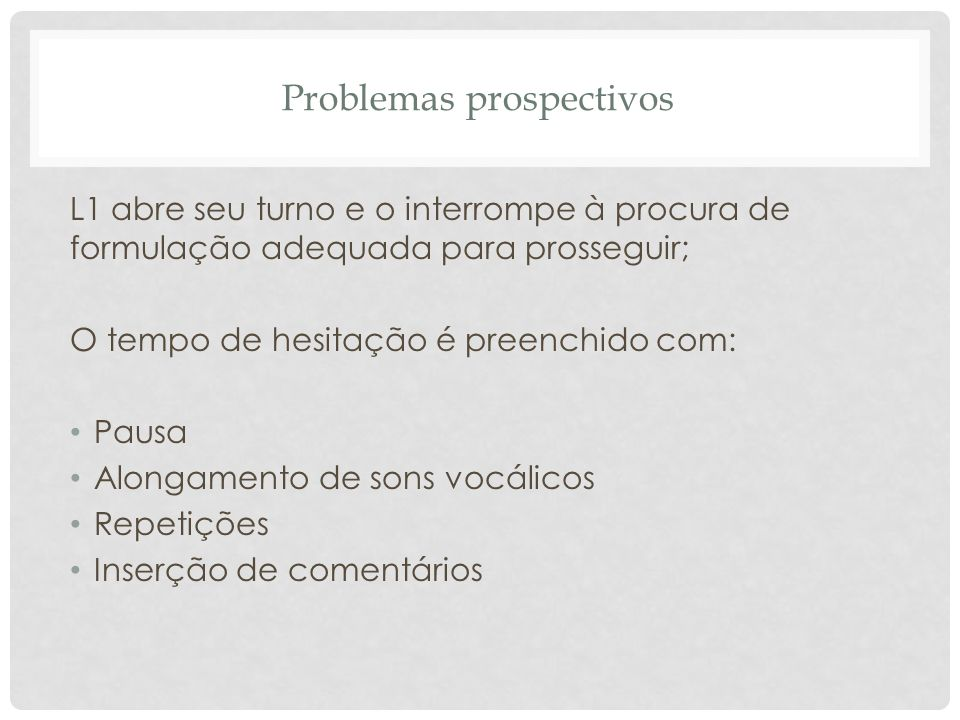 Problemas prospectivos