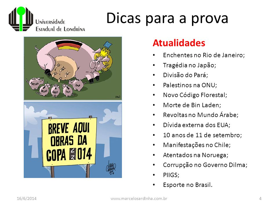 Dicas para a prova Atualidades Enchentes no Rio de Janeiro;