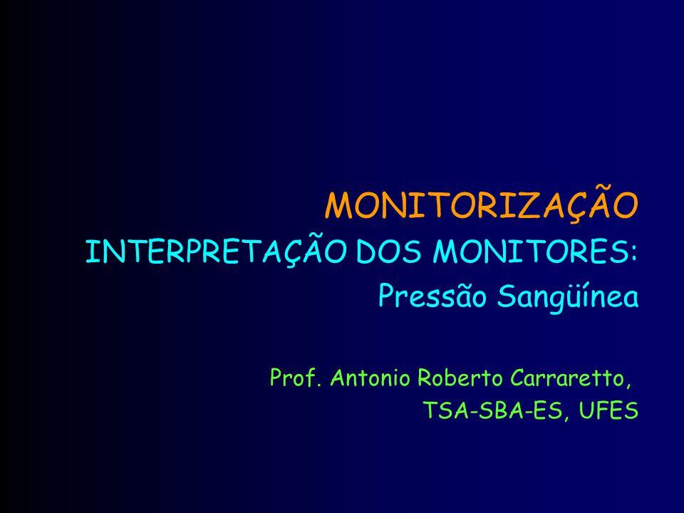 MONITORIZAÇÃO INTERPRETAÇÃO DOS MONITORES: Pressão Sangüínea