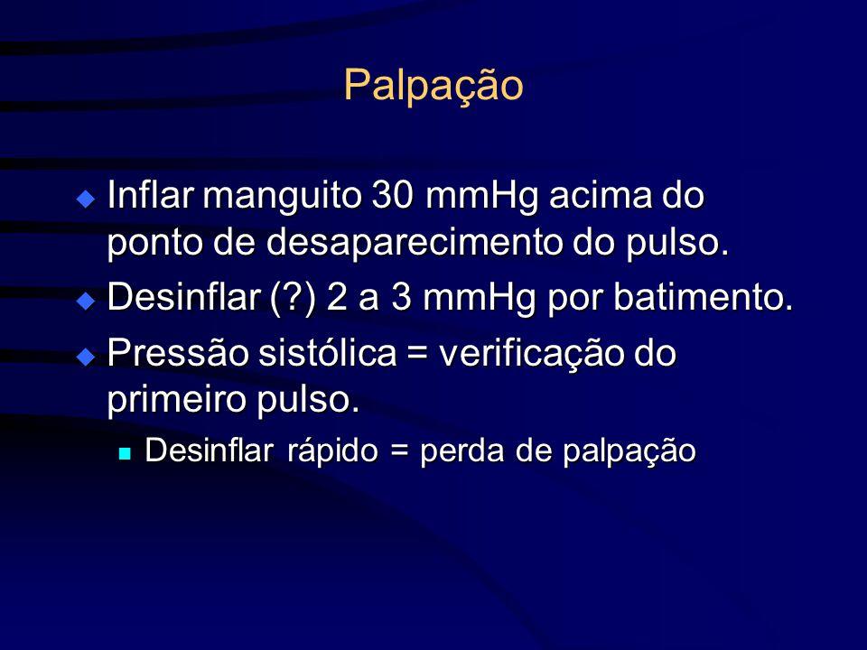 Palpação Inflar manguito 30 mmHg acima do ponto de desaparecimento do pulso. Desinflar ( ) 2 a 3 mmHg por batimento.