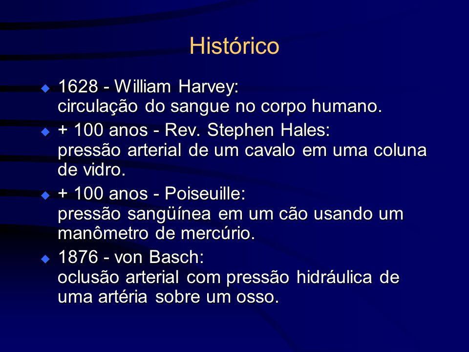 Histórico 1628 - William Harvey: circulação do sangue no corpo humano.