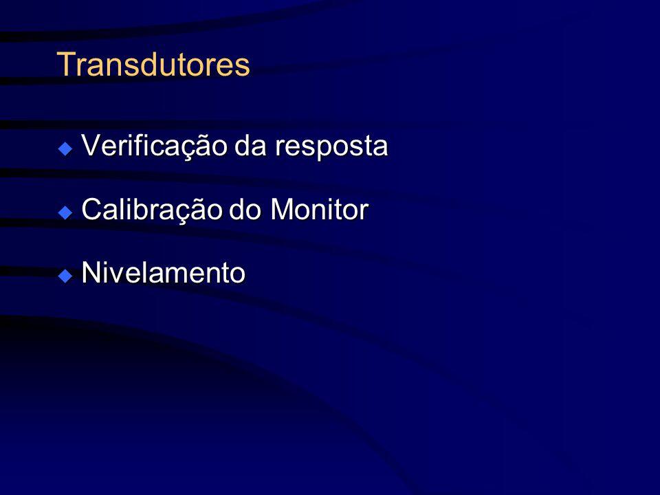 Transdutores Verificação da resposta Calibração do Monitor Nivelamento