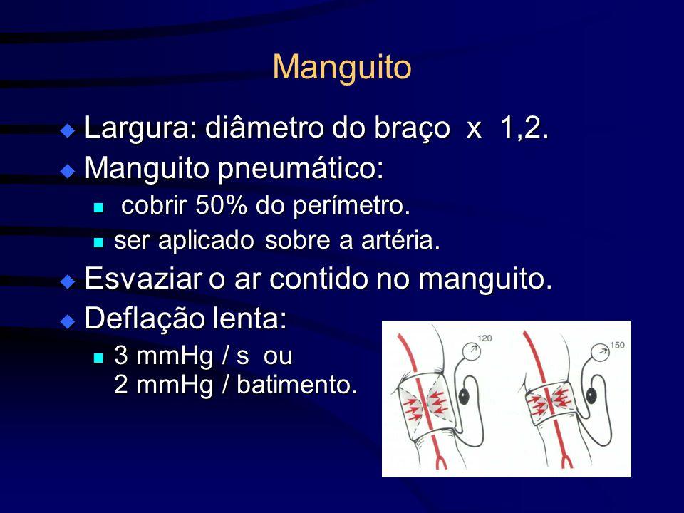 Manguito Largura: diâmetro do braço x 1,2. Manguito pneumático: