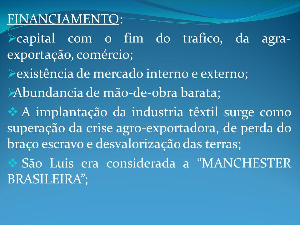 FINANCIAMENTO: capital com o fim do trafico, da agra-exportação, comércio; existência de mercado interno e externo;
